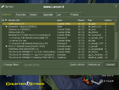 Counter-Strike 1.6 BOOST Client find servers>internet window Screen-Shot.